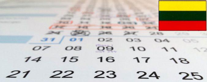 Savaitinis 2019 metų kalendorius su valstybinėmis ...